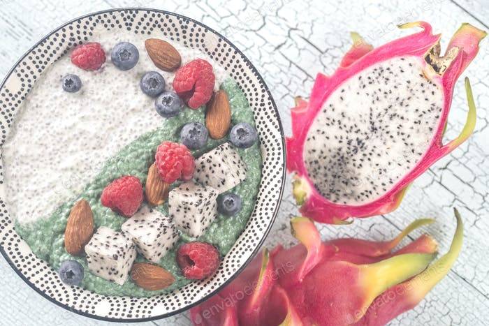 Bowl of pudding with superfoods