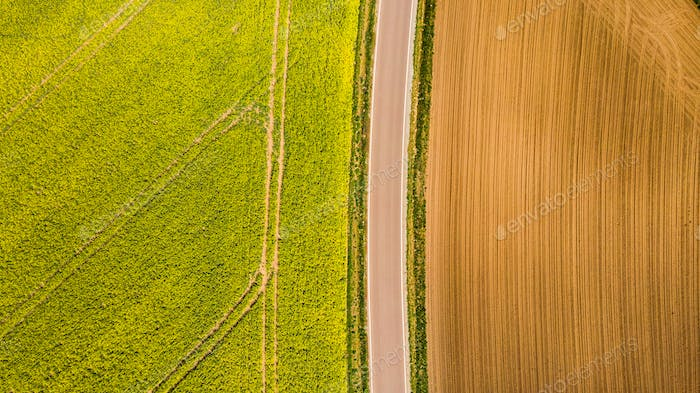 Abstract pattern in farmland fields at spring, aerial  view, dro