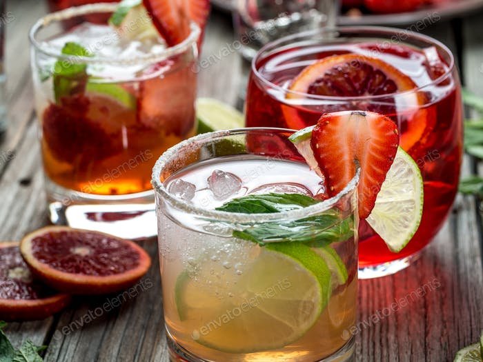 Various fruit cocktails