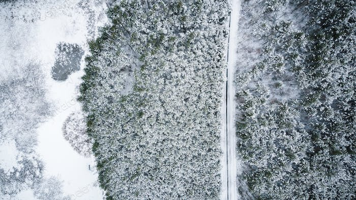 Winter season aerial top down view of a road in forest