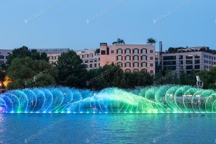 beautiful fountain on hangzhou west lake