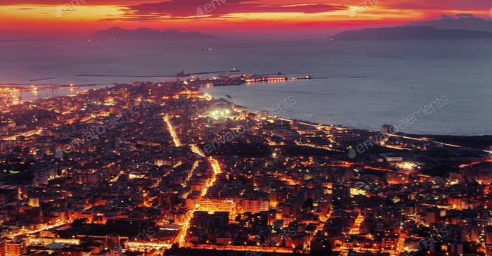 city with a night on the beach. Sicily Italy Europe