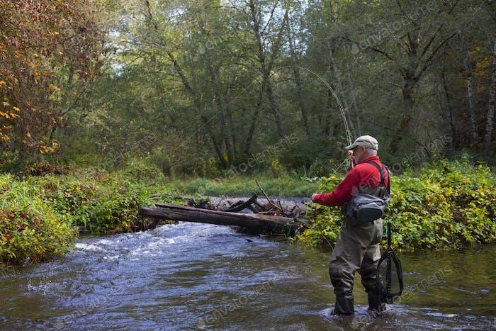 Ein Fliegenfischer beim Gießen für Searun Cutthroat Forelle auf Chambers Creek in Tacoma, Washington USA