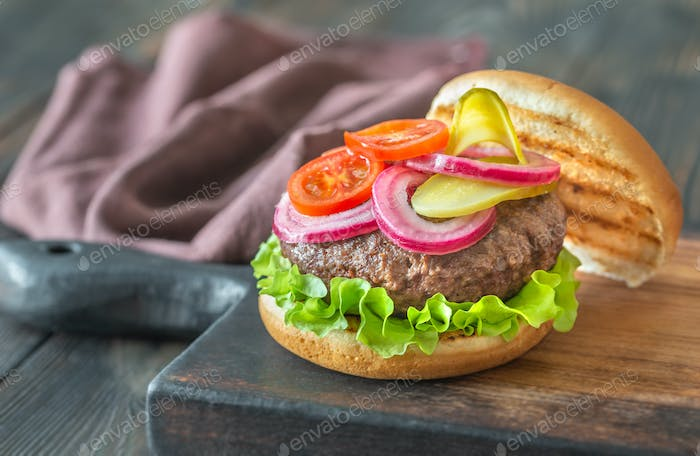 Hamburger on the cutting board