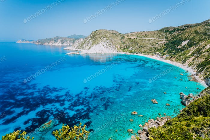 Petani beach panorama seascape. Favorite tourist visiting destination place at summer on Kefalonia