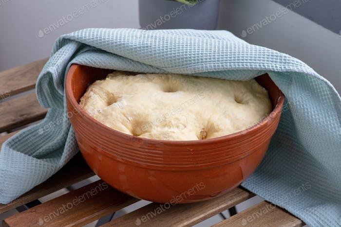 leavened dough in ceramic bowl