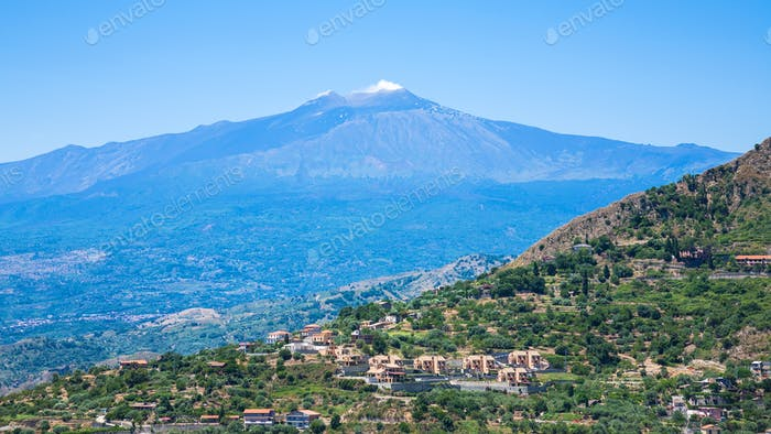 view of villages and Etna volcano in Sicily