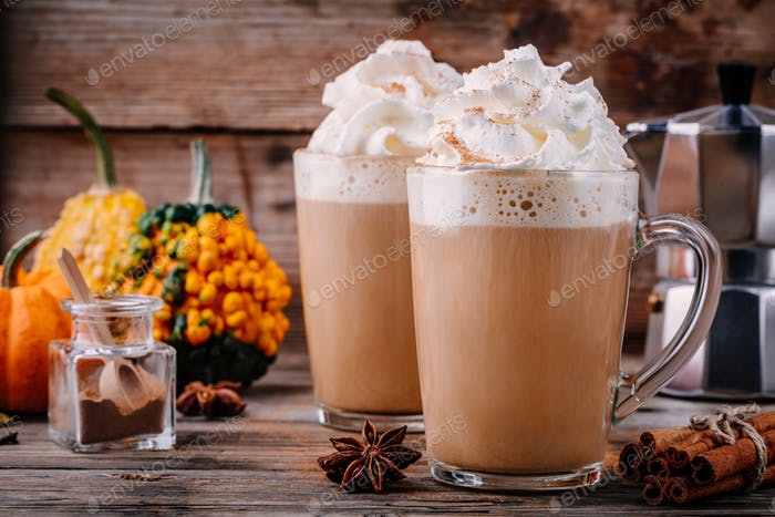 Pumpkin spice latte with whipped cream and cinnamon
