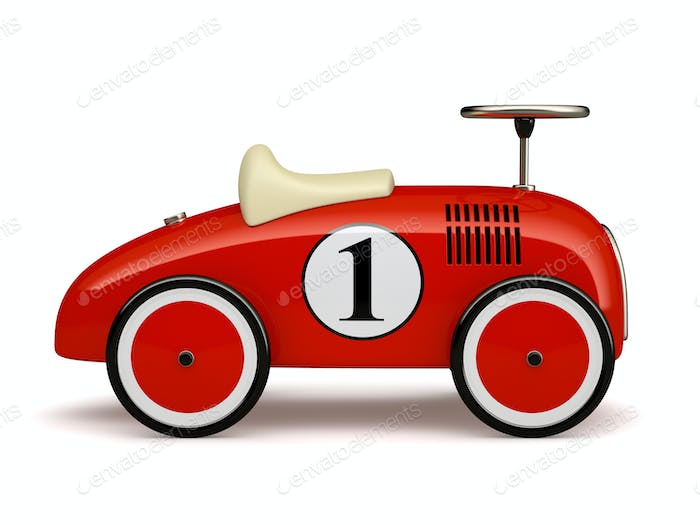 Red retro toy car number one isolated on white background