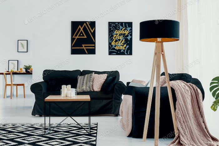 Lamp next to dark couch with pink blanket in white flat interior