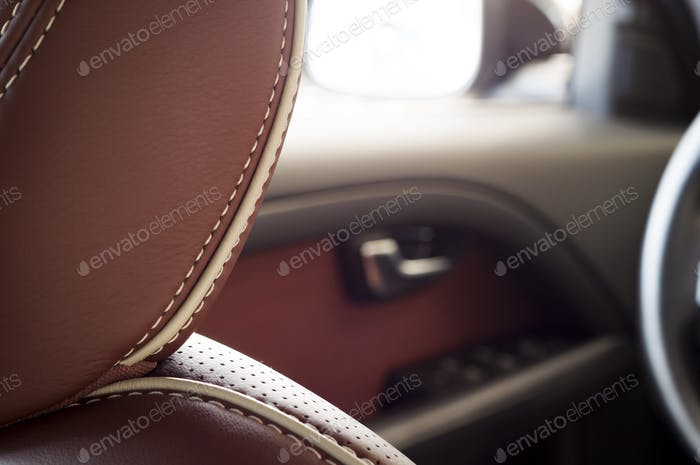 Brown red leather headrest