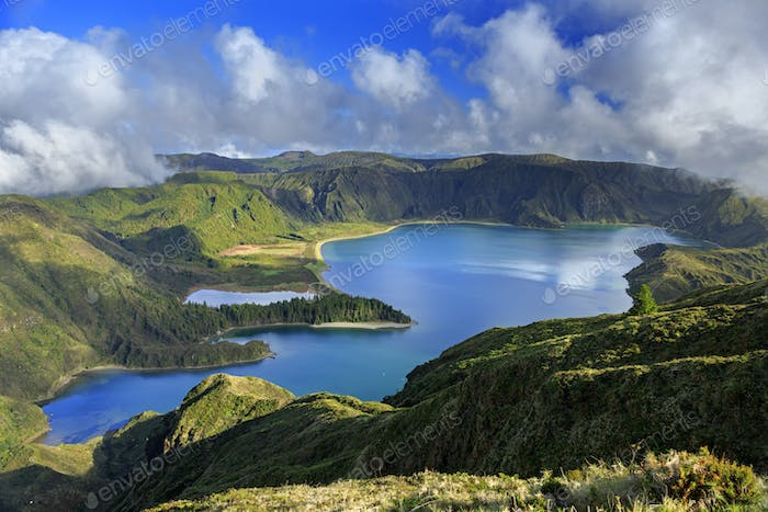 Lagoa do Fogo and green valley on San Miguel island