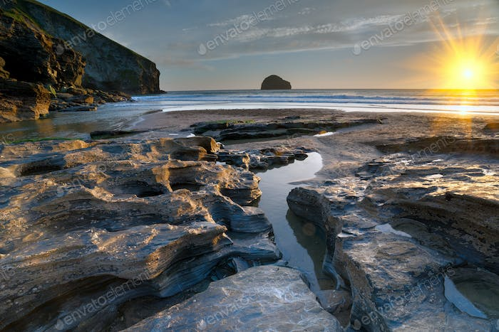 The Beach at Trebarwith in Cornwall