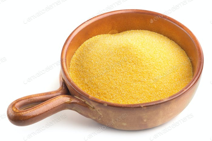 earthenware bowl with cornmeal