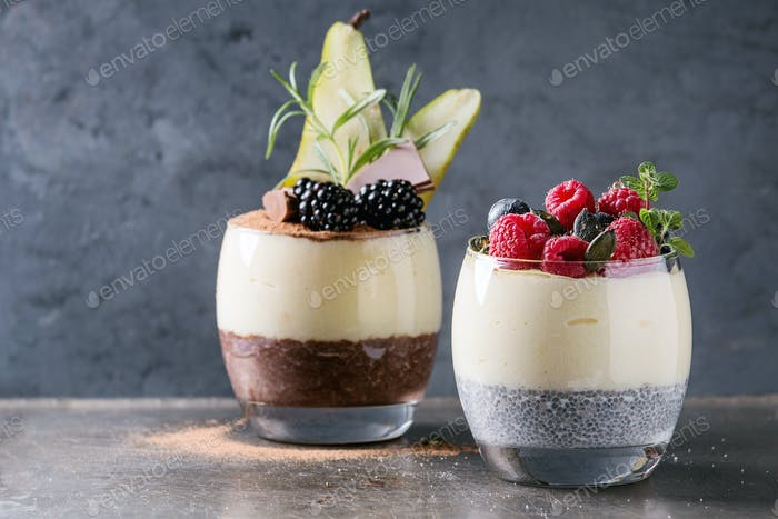 Chia pudding with rice porridge