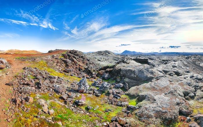 Frozen lavas field in the geothermal valley Leirhnjukur, near Krafla volcano.