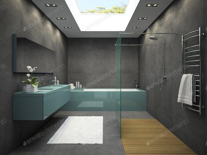 Innenraum Badezimmer mit Deckenfenster 3D Rendering 4