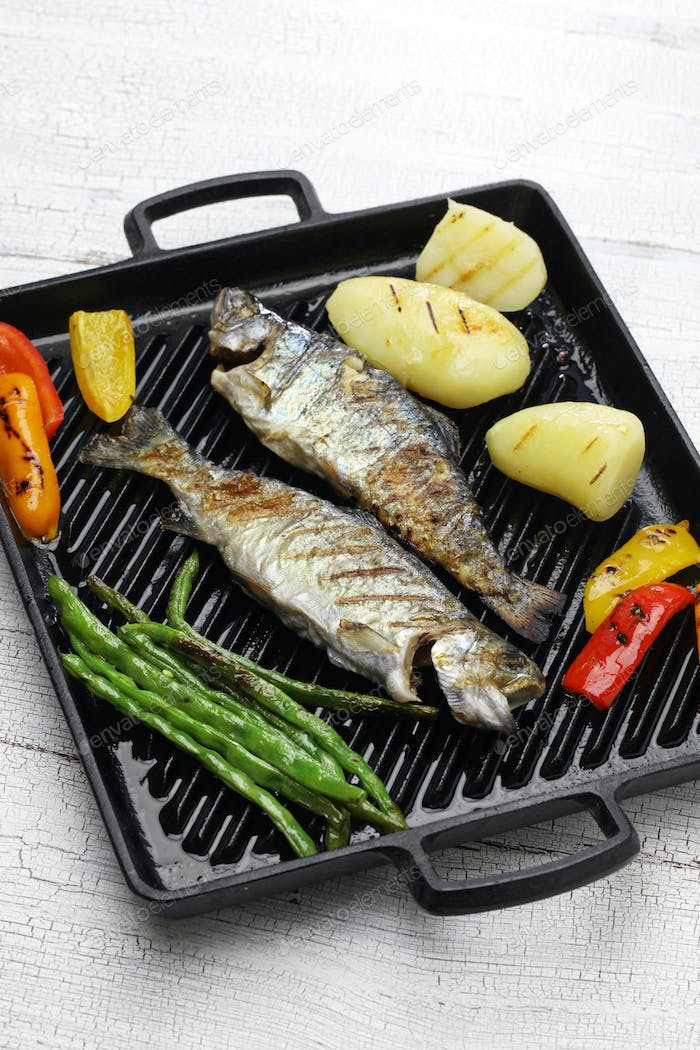 grilled whole rainbow trout with vegetables