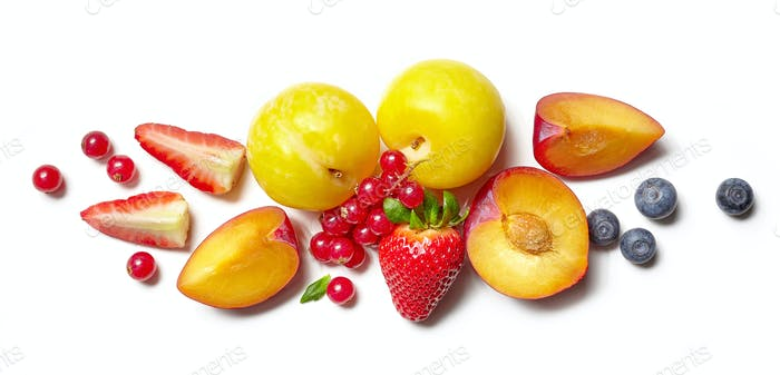 composition of various fruits and berries