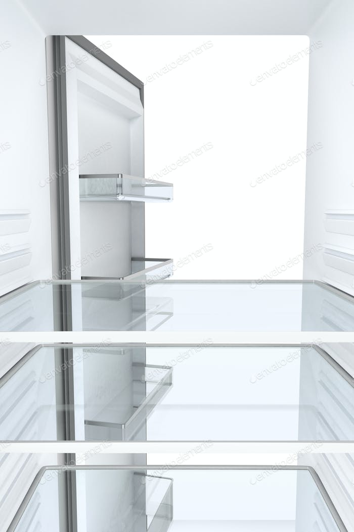 Empty refrigerator, view from inside