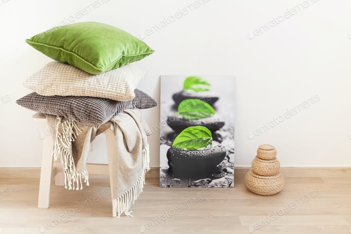 grau und grün Kissen gemütliche Heiminterieur
