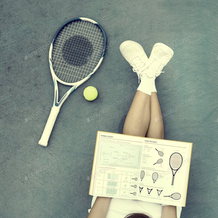 Tennis Study Asian Casual Woman Young Concept