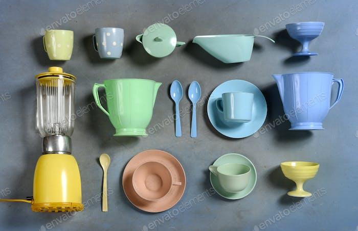 Selection of colorful retro plastic kitchenware