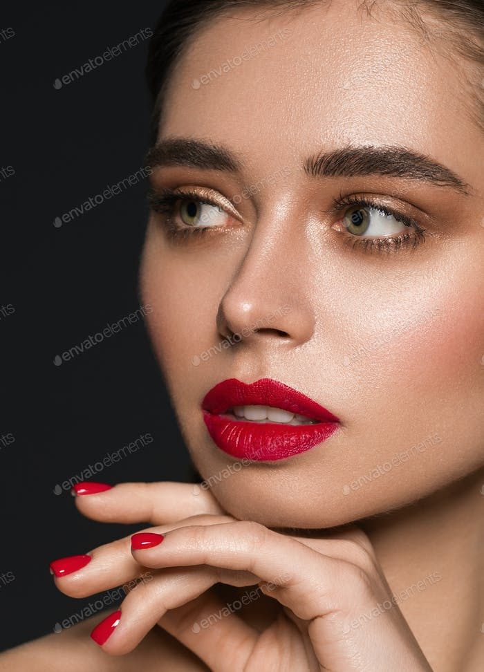 Red lipstick lips woman face