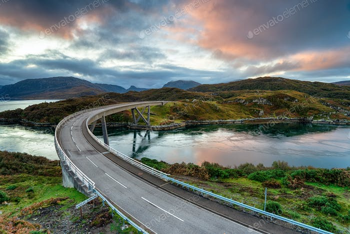 Autumn sunrise over Kylesku Bridge in the Highlands of Scotland