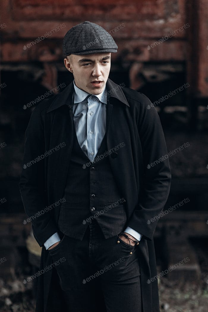 Old fashionable look of brutal confident man