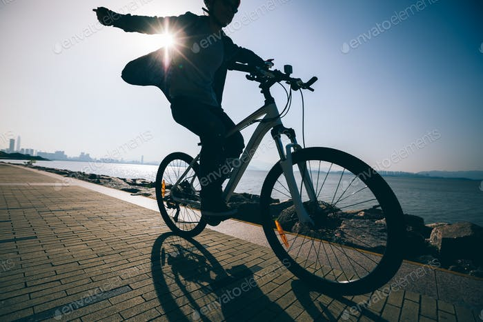Cycling in the sunrise