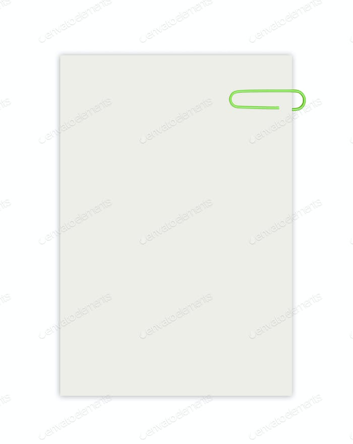 Empty sheet with paperclip isolated on white
