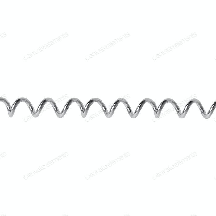 Metal spring on white background