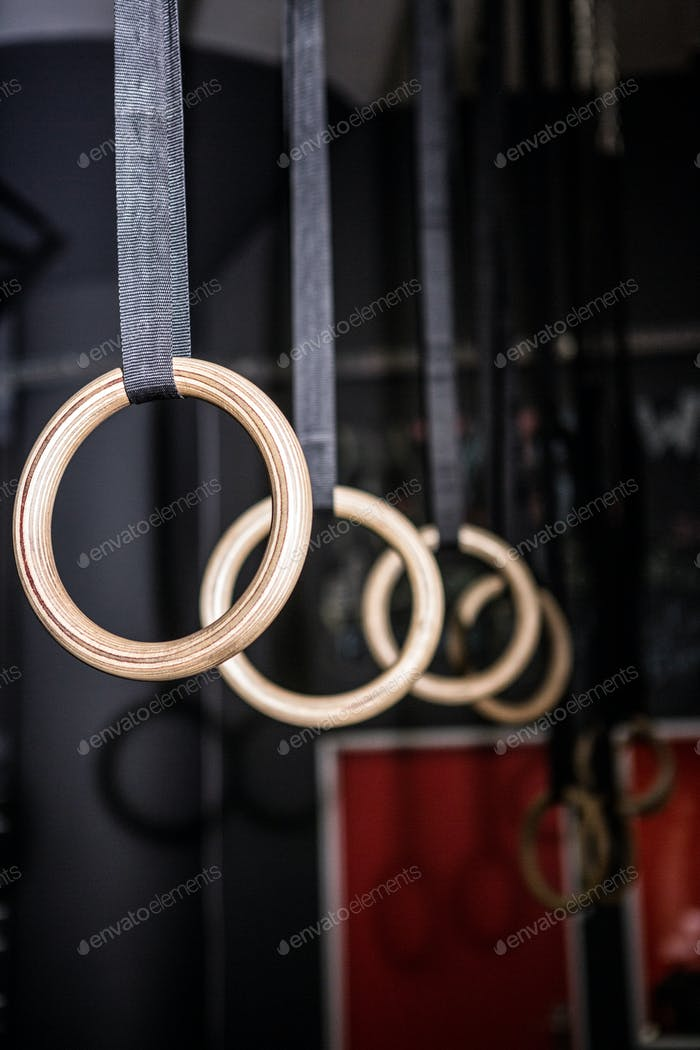 Gymnastic rings in the crossfit gym