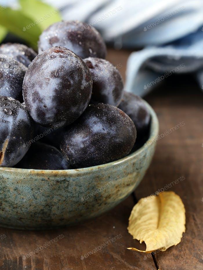 Ripe Organic Violet Plums