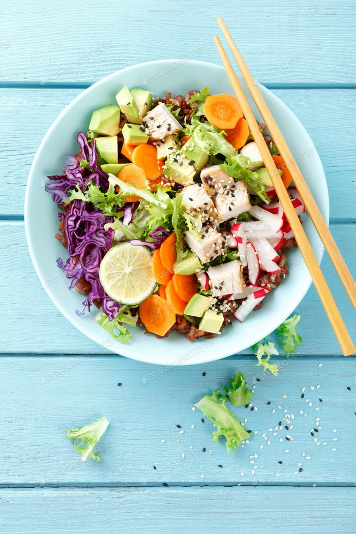 Bowl with grilled chicken meat and avocado salad