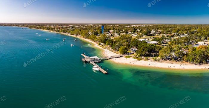 Aerial view of Bongaree Jetty on Bribie Island, Sunshine Coast,