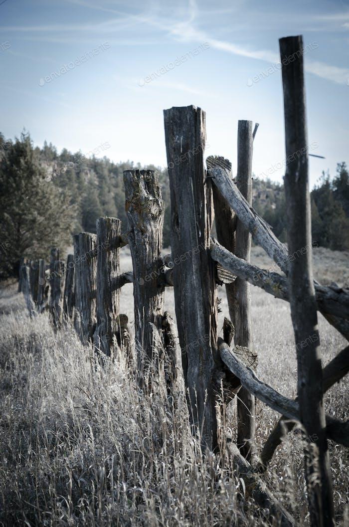 Postes de vallas en el desierto