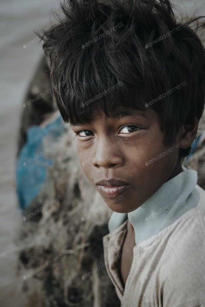 Portrait of a Cambodian boy