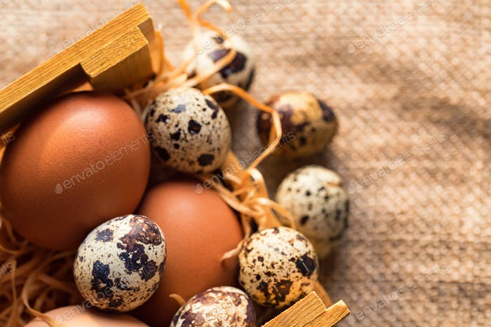 Fresh farm brown eggs on rustic background