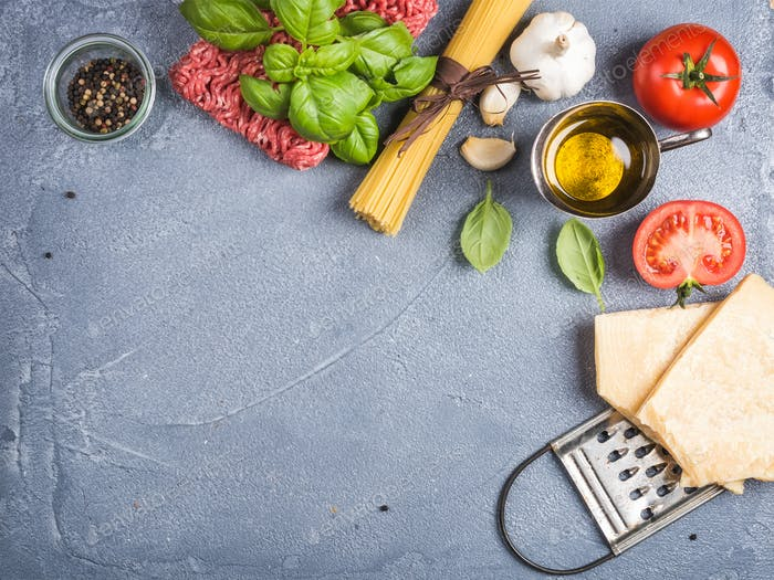 Ingredients for cooking pasta Bolognese