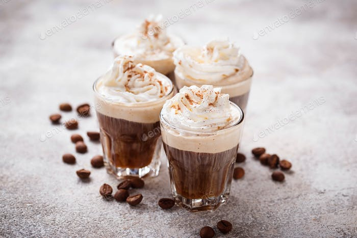 Coffee latte with whipped cream