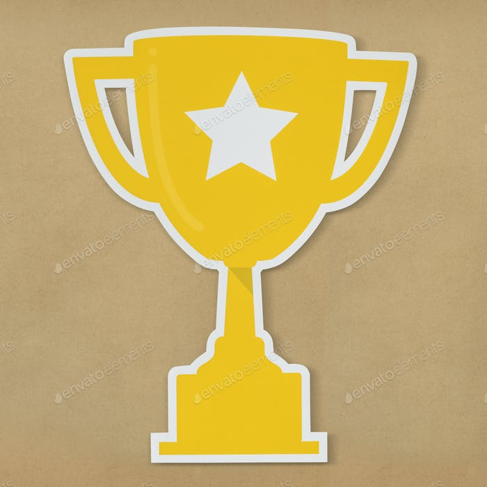 Golden trophy with star icon