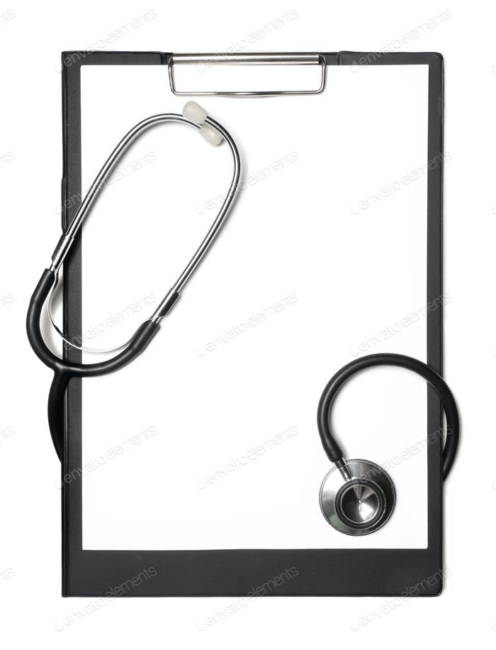 Stethoscope and black clipboard