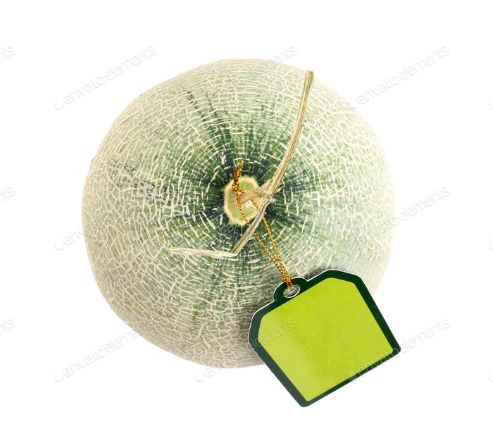 melon with green label tag