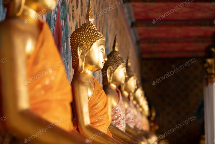 Ancient Buddha's statue at Wat Pho Temple, Bangkok, Thailand.
