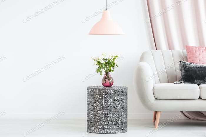 Side table with bouquet