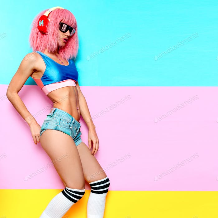 Music and fitness. Sports Slim DJ girl. Playful style.