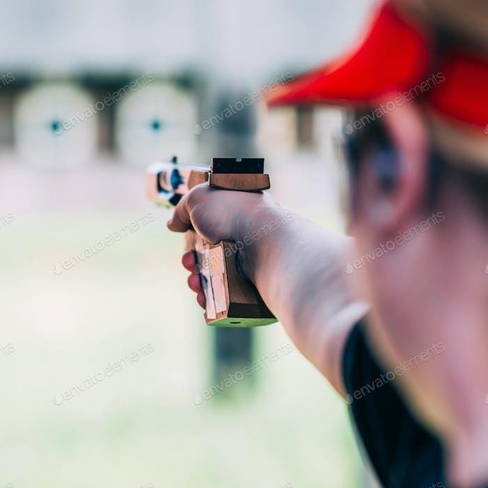 Mujer en el Deporte tiro tiro tiro tiro objetivo