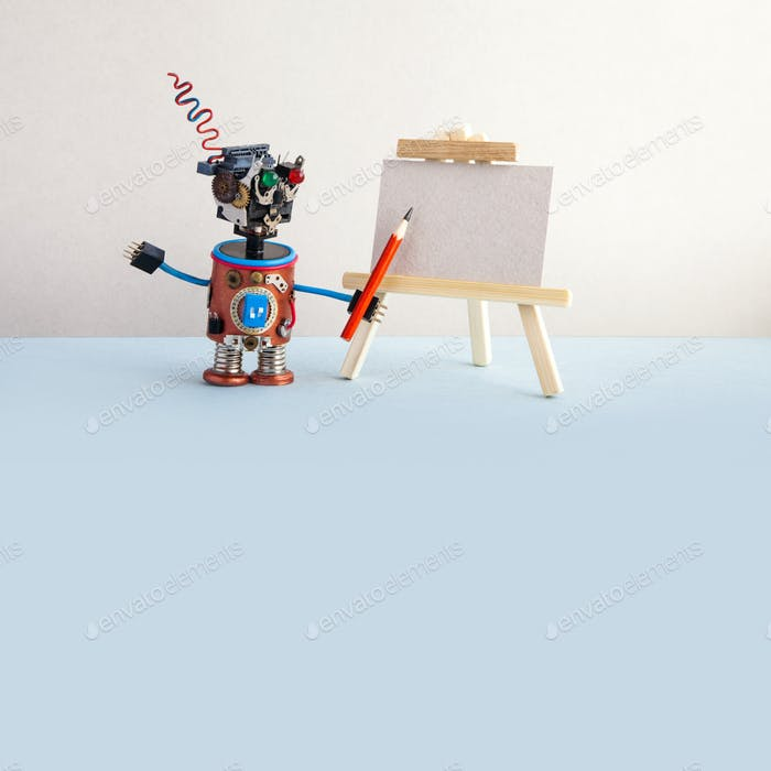 Kindly robot artist begins to create a drawing with a pencil. White paper template, wooden easel
